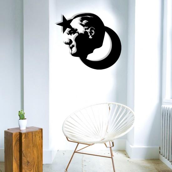 Ay Yıldız Atatürk Silüet Metal Tablo