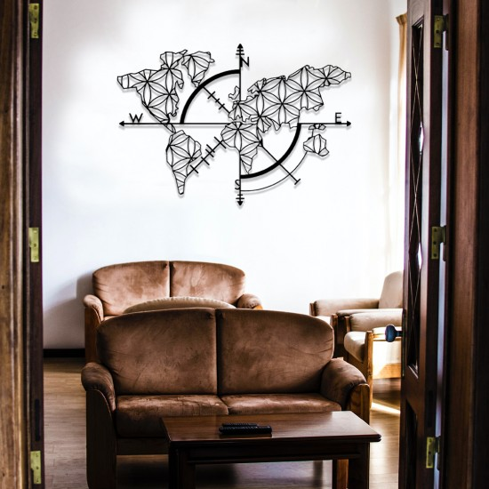 Dekoratif Dünya Haritası Metal Tablo